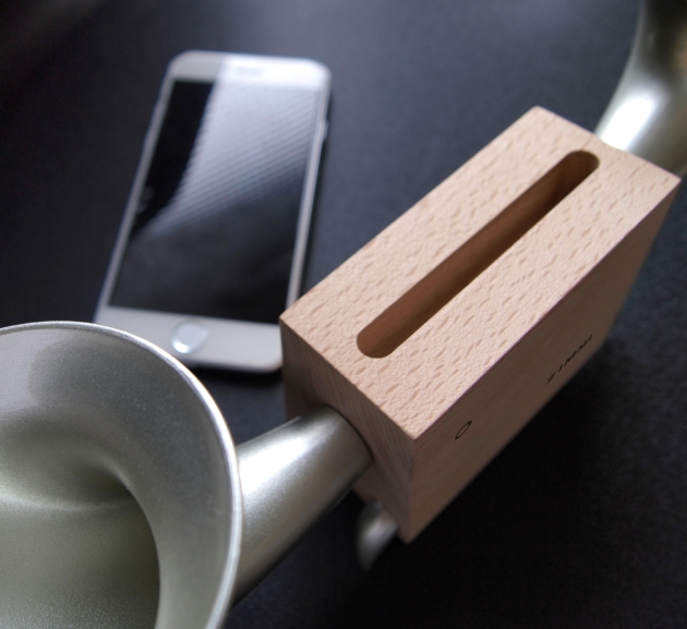 ZIMMA Horn Stand Speaker Wood+Silver For iPhone & Android 2