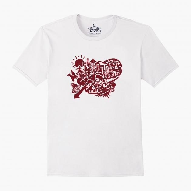 台南文化T恤-府城尋蹟-我愛台南 (男女適用版&童裝版) 白 1