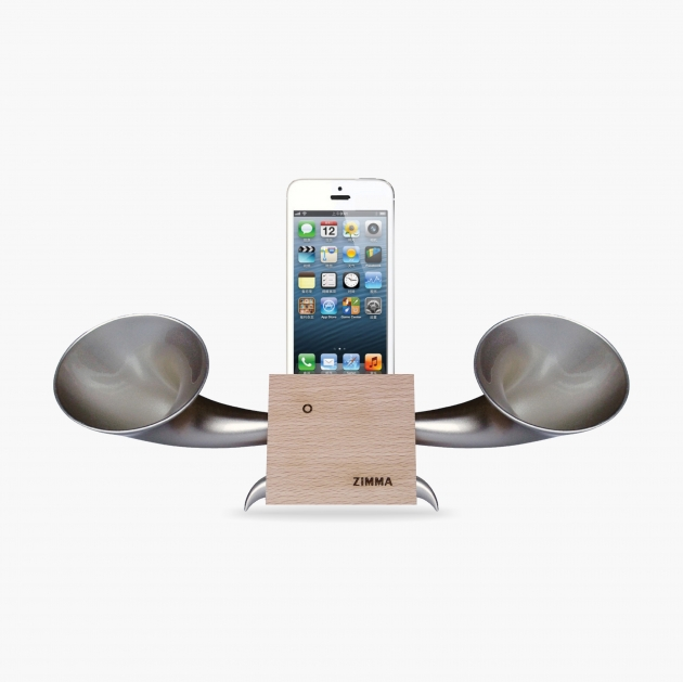 ZIMMA Horn Stand Speaker Wood+Silver  For iPhone SE/5S/4S(NO FOR iPhone 6~X & Android used) 1