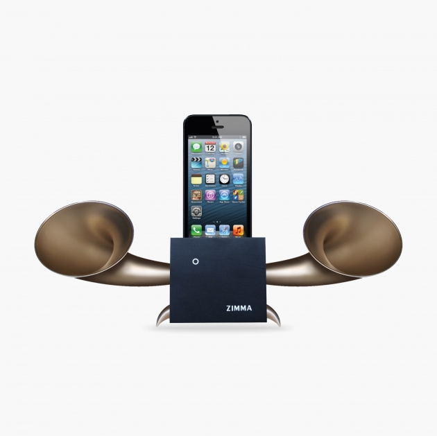 ZIMMA Horn Stand Speaker Black+Gold   For iPhone SE/5S/4S(NO FOR iPhone 6~X & Android used) 1
