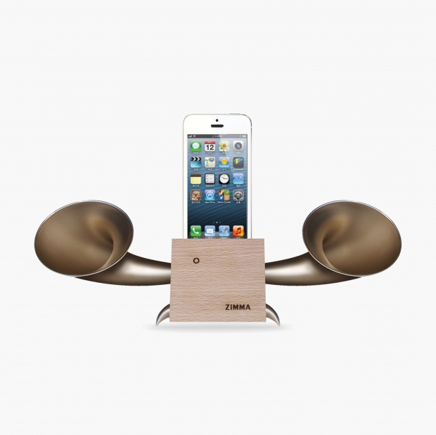 ZIMMA Horn Stand Speaker Wood+Gold   For iPhone SE/5S/4S(NO FOR iPhone 6~X & Android used) 1