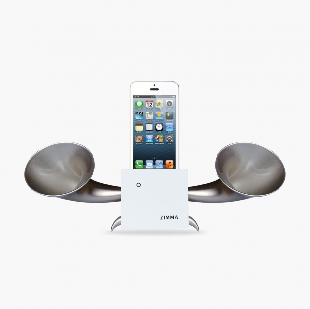 ZIMMA Horn Stand Speaker White+Silver   For iPhone SE/5S/4S(NO FOR iPhone 6~X & Android used) 1