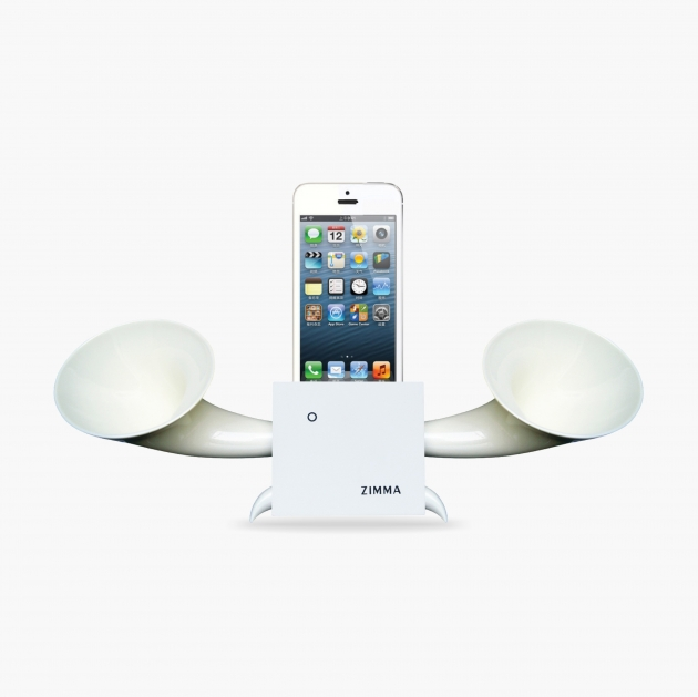 ZIMMA Horn Stand Speaker White+White   For iPhone SE/5S/4S(NO FOR iPhone 6~X & Android used) 1