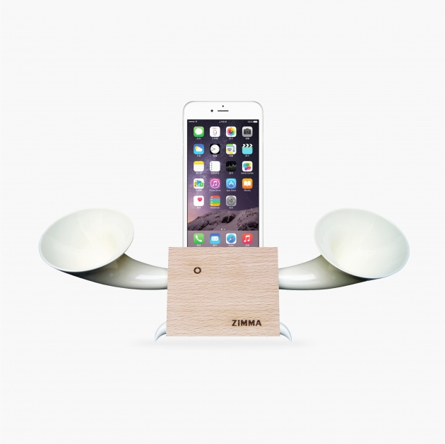 ZIMMA Desk Speaker Stander Wood+White For iPhone & Android 1