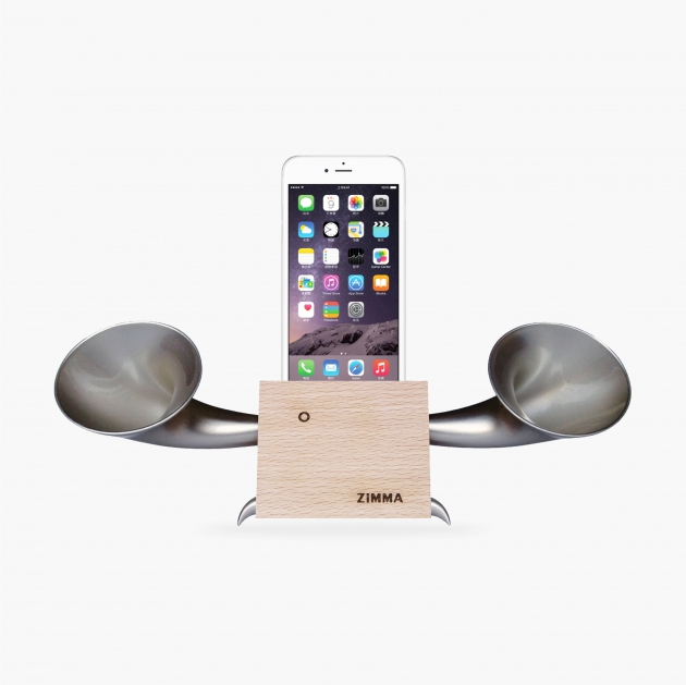 ZIMMA Horn Stand Speaker Wood+Silver For iPhone & Android 1