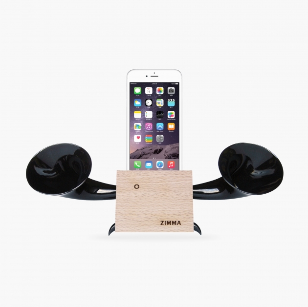 ZIMMA Horn Stand Speaker Wood+Black For iPhone & Android 1